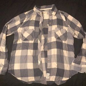 Abercrombie & Fitch blue and white flannel large